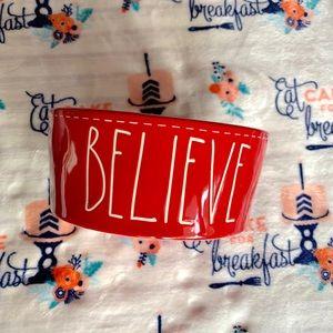 """Rae Dunn Dog Dish """"Believe"""""""